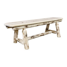 Montana Log Collection Wood Plank Style Bench With Ready To Finish MWPSB5