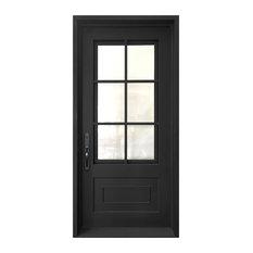 "Classica Wrought Iron Door With 6"" Jamb, Matte Black, 39""x81', Right Hand"