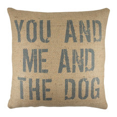"""""""You and Me and the Dog"""" Burlap Pillow, Blue"""