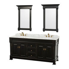 "Wyndham Collection 72"" andover Double Sink Bathroom Vanity Set, Antique Black"