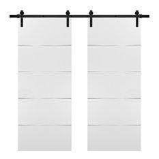 Planum 0020 Modern Closet Double Barn Doors 72x84 White & Hardware Rails 13FT