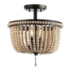 "Allie Wood Beaded, Metal LED Flush Mount, Black, Light Taupe, 14"""