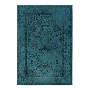 "Ophelia Overdyed Traditional Teal and Gray Rug, 5'3""x7'6"""