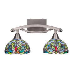 "Bow 2-Light Bath Bar, Brushed Nickel Finish, 7"" Kaleidoscope Tiffany Glass"