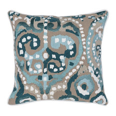 """Blair Embroidered 22"""" Throw Pillow, Blue by Kosas Home"""