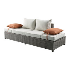 ACME Salena Patio Sofa/Ottoman With 2 Pillows, Beige Fabric/Gray Wicker