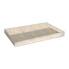 Champagne Silver Leaf Rectangle Tray, Large