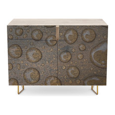 """Society6 Credenza, Birch, Steel, 30"""", Water Drops on Wood 1 By Galerie503"""
