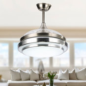 Modern Ceiling Fan with Light and Remote, Retractable Bedroom Ceiling Fan, Silve