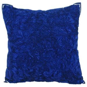 Satin Ribbon 30x30 Silk Navy Blue Throw Cushions Cover, All Thats Navy