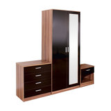 High Gloss Bedroom Furniture Set Mirrored Door Wardrobe, Chest, Bedside Cabinet