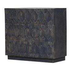 Ellensburg Solid Reclaimed Wood Black Dresser With 3 Drawers