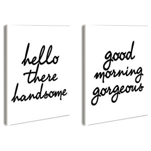 Stupell Home lulusimonSTUDIO His and Her Welcome Good Morning Wall Plaque Duo