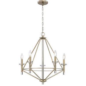 """Chandelier 5-Light With Aged Silver, Clear Metal Glass, Candelabra, 24"""""""