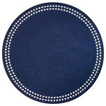 Bodrum Linens - Pearls Round Vinyl Placemats, Navy and White, Set of 4 - Round mats with pearl-like embroidered dots around the edge. Available in multiple colors.