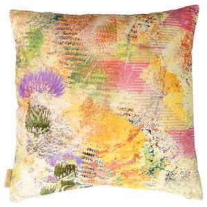 Harris Green Thistle Velvet Cushion