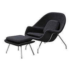 Womb Lounge Chair And Ottoman Set Black Wool