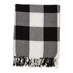Rustic Buffalo Plaid 100% Cotton Throw Blanket with Hand-Knotted Fringe, Black