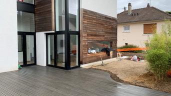 Création d'une terrasse - Maison contemporaine