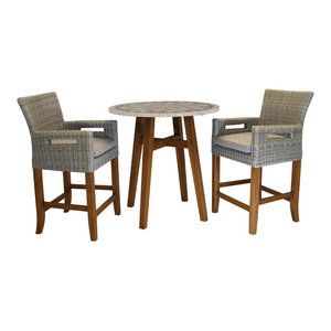 3-Piece Counter Height Marble Table With Light Gray Wicker Chairs Set