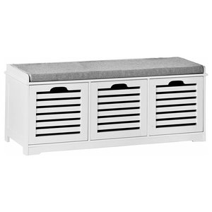 Contemporary Storage Bench, White MDF With 3-Drawer and Removable Cushion