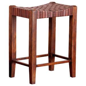 Saddle Seat Counter Stool, Sienna Brown and English Chestnut