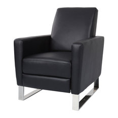 Arvin Modern Faux Leather Push Back High Leg Recliner with Stainless Steel Legs