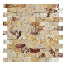 Split-Faced Valencia Travertine Brick Mosaic, Sample
