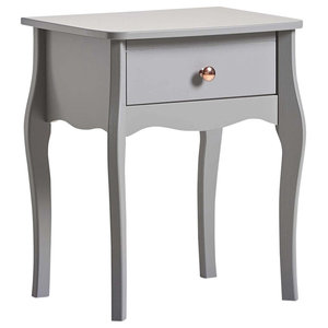 Bedside Table, Grey Finished Wood With Curved Legs, Gold Handles and 1-Drawer