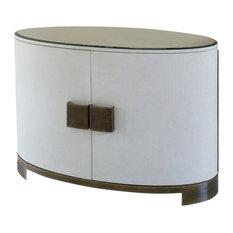 Midcentury Oval Ellipse Console Cabinet Dark Wood Linen Wrap Crackle