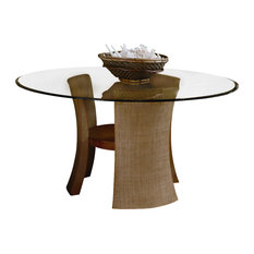 American Drew   American Drew Grove Point Round Glass Top Pedestal Table In  Soft Khaki
