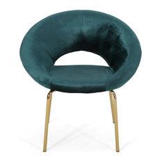 Brown Modern Glam Velvet Accent Chair Teal/Gold
