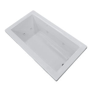 "Venzi Villa 36""x72"" Rectangular Whirlpool Jetted Bathtub, Left Drain Placement"