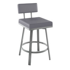 Amisco - Staten Swivel Counter Stool, Glossy Grey Finish - Bar Stools and Counter Stools