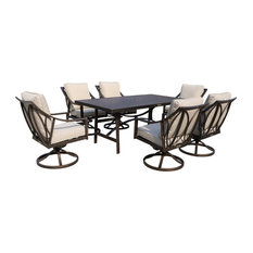 7 Piece Outdoor Liberty Bronze Aluminum Dining Set with 6 Swivel Chairs
