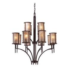 Barringer 8+4-Light Chandelier, Aged Bronze With  Tan Mica Shades ELK Lighting