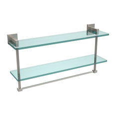 """Montero Collection 22"""" Two Tiered Glass Shelf With Integrated Towel Bar"""