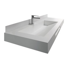 Connect Wall-Mounted Single Bathroom Sink and Countertop, 140 cm