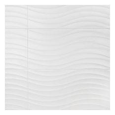 """12.38""""x24.88"""" Amandole Brillo Ceramic Wall Tiles, Blanco Matte"""