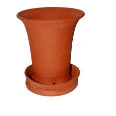 Classic Redware Flower Pot With Raised Slip Decoration