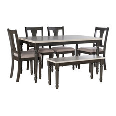 Powell Willow Wood Six Piece Dining Set In Gray