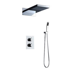 Modern Square Chrome-Plated Shower Head With Mixer Taps and Hand Shower