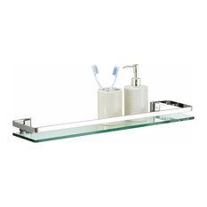 Glass Shelf With Rail, Nickel