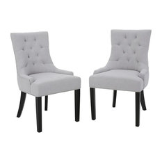 Stacy Fabric Diamond Tufted Back Dining Chairs, Set of 2, Light Gray