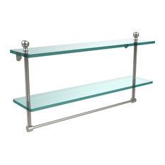 22X5 Glass Shelf With Towel Bar, Polished Nickel