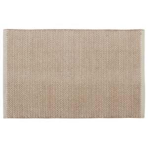 Handwoven Taupe Field Cotton Rug, 60x90 Cm