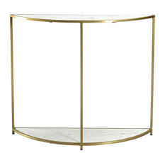 39-inch L Half Circle Console Table Brass Finished Metal Frame Smooth Stone Top