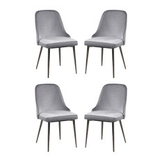 Coaster Home Furnishings - Armless Velvet Dining Side Chairs, Black Nickel Legs, Set of 4, Gray - Dining Chairs