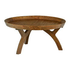 Round Coffee Table Solid Fir Wood With Unique Curved Legs Brown