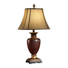 Crestview Collection   Crestview Collection CVATP426 Burnt Wood Buffet Lamp    Table Lamps